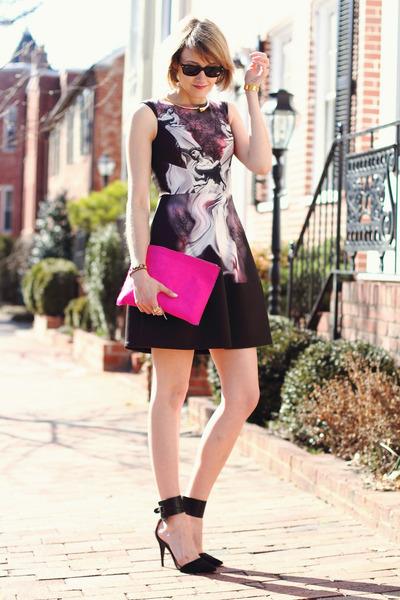 hot pink clutch asos bag - deep purple psychedelic Yoana Baraschi dress