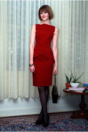 red RM by Roland Mouret dress - black Hermes bracelet - black Chanel purse - bla