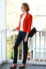 Carrot-orange-bright-zara-blazer-black-chain-strap-chanel-bag-bubble-gum-sat
