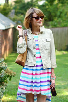 lime green jean jacket 7 for all mankind jacket - hot pink striped RARE dress
