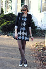 Silver-vintage-dress-black-tailored-zara-blazer