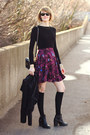 Black-ankle-boots-h-m-boots-magenta-floral-print-oasis-dress