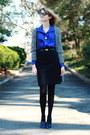 Blue-shirtdress-sunner-dress-black-cat-eye-ray-ban-sunglasses