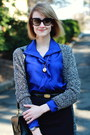 Blue-shirtdress-sunner-dress-black-cat-eye-ray-ban-sunglasses