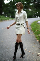 black vintage belt - black lace up cut out Urban Outfitters boots
