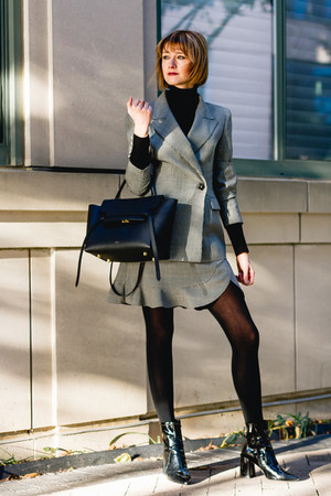 heather gray plaid Zara skirt - black patent Mango boots