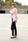 Light-pink-ruffled-romwe-blazer-black-snakeskin-h-m-jeans