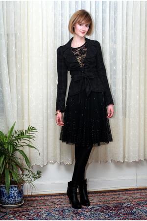 black Forever 21 top - black Topshop blazer - black Express skirt - black balenc