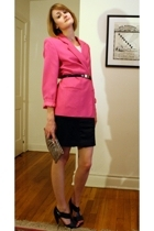 pink big shoulders vintage blazer - black cut-out Pour La Victoire shoes