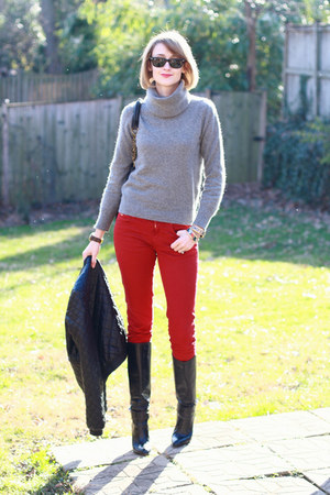 red skinny Zara jeans - black knee-high boots karen millen boots
