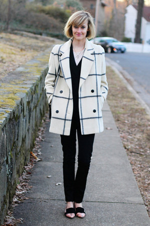 ivory plaid vintage coat - black cardigan La Redoute sweater