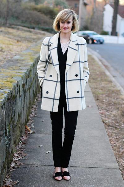 ivory plaid vintage coat - black cardigan La Redoute sweater
