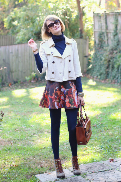 burnt orange painting romwe skirt - olive green lace up boots tory burch boots