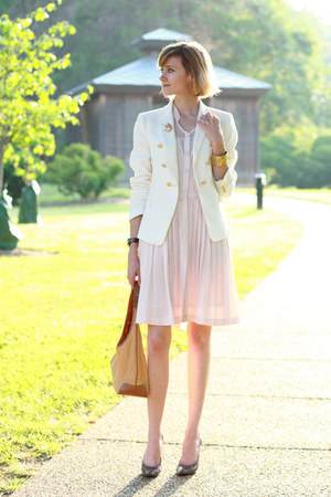 white double-breasted Zara blazer - light pink pleated Anthropologie dress