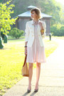 Light-pink-pleated-anthropologie-dress-white-double-breasted-zara-blazer-mus