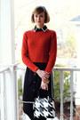 Black-contrast-ann-taylor-dress-burnt-orange-cropped-banana-republic-sweater