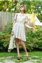beige vintage dress - brown Miu Miu shoes - green 7 for all mankind jacket - bro