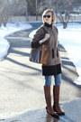 Dark-brown-two-tone-jean-michel-cazabat-boots-tan-zip-up-united-bamboo-coat