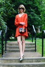 Carrot-orange-open-sleeve-asos-dress-black-mini-sophie-hulme-bag