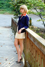 Navy-orange-collar-vintage-blazer-mustard-structured-vintage-bag