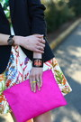 Black-tailored-zara-blazer-white-floral-zara-dress-hot-pink-clutch-asos-bag