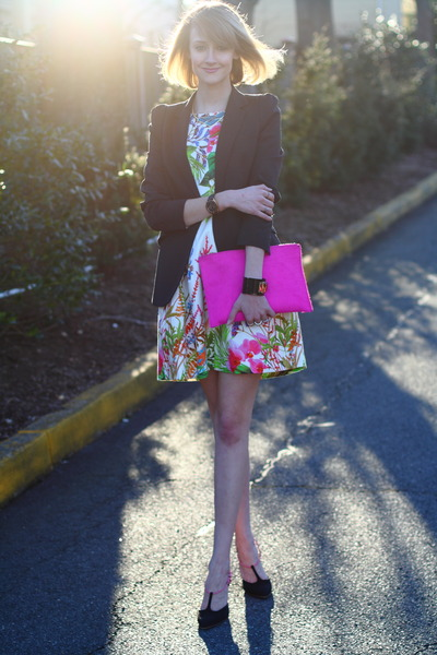 white floral Zara dress - black tailored Zara blazer - hot pink clutch asos bag
