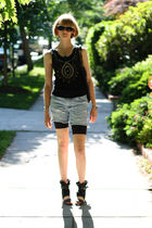black vintage sunglasses - black Junia top - blue DIY shorts - black 8020 shoes