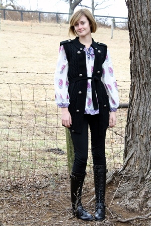 Forever21 vest - Angie blouse - Target leggings - DKNY boots