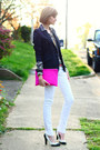 White-skinny-mango-jeans-black-zara-blazer-hot-pink-clutch-asos-bag