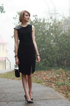 black leather BCBG watch - black leather sleeve rag &amp; bone dress