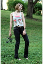 DIY top - Rag Doll top - True Religion jeans - Theory shoes - vintage necklace