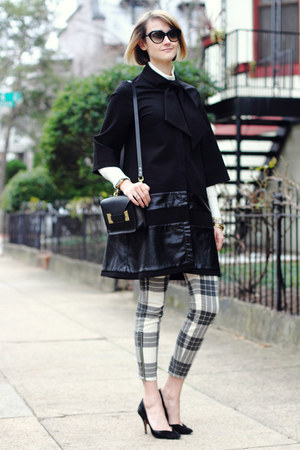 charcoal gray plaid mother pants - black cape Julie Brown coat