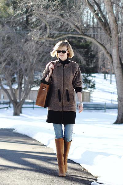 brown tote Love41 bag - dark brown two-tone Jean Michel Cazabat boots