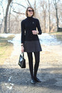 Black-cardigan-zara-sweater-ivory-plaid-vintage-coat