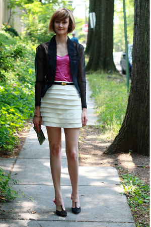 pink Express tights - white Reiss skirt - black Asos Black Label blazer - black