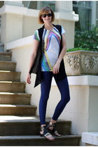 Ray Ban sunglasses - forever 21 vest - 80s Purple t-shirt - American Apparel leg