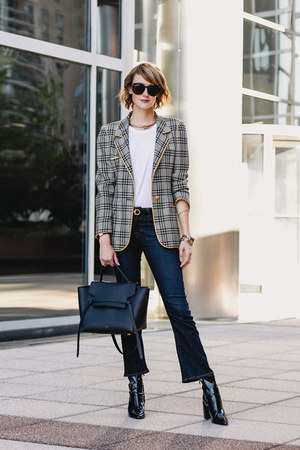 charcoal gray plaid blazer Ungaro blazer - black patent leather Mango boots