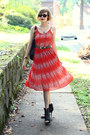 Black-studded-bag-kmrii-bag-red-sheer-romwe-dress