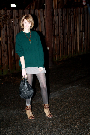green cashmere husbands sweater - brown lace-up born boots