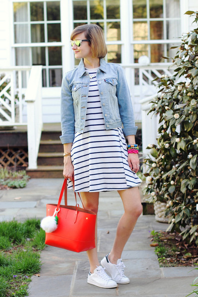 white striped asos dress - sky blue denim jacket Levis jacket