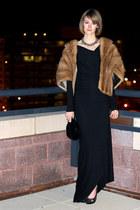 black long draped rick owens lilies dress - camel Woodward & Lothrop scarf