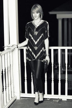 black fringe clutch Topshop bag - black Zara pants