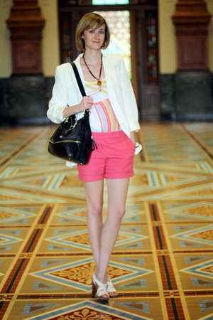ann taylor blazer - Boyy purse - vintage necklace - H&M top - DIY shorts - Nicol