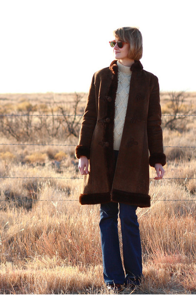 navy J Brand jeans - dark brown shearling vintage coat