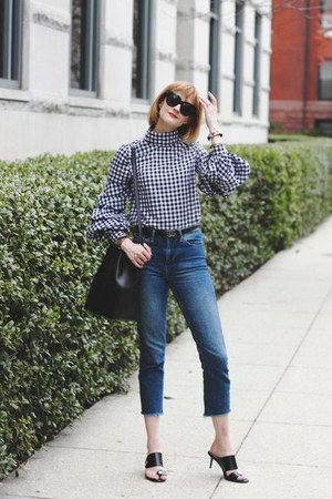 black gingham shein top - blue cropped Topshop jeans