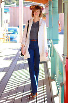 ivory vintage sweater - navy J Brand jeans - black Jeffrey Campbell clogs - dark