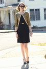 Black-sheath-h-m-dress-mustard-cardigan-asos-sweater