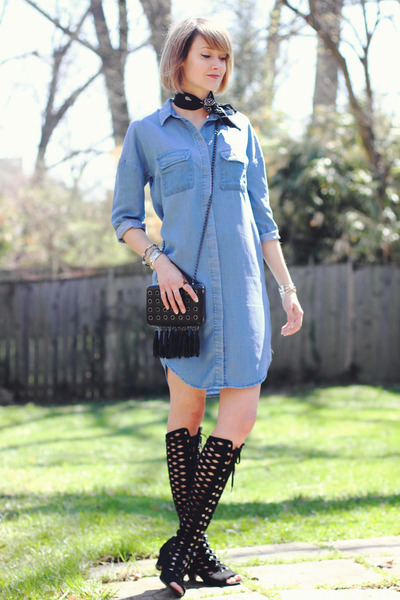 black bandana Urban Outfitters scarf - sky blue denim asos dress