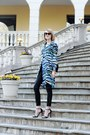 Turquoise-blue-shirtdress-tucker-dress-black-quilted-chanel-bag