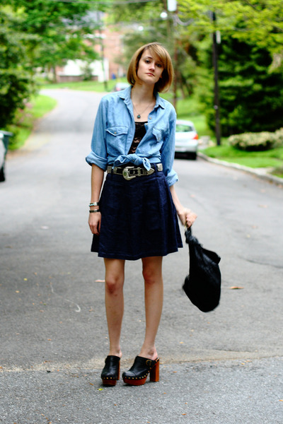 blue vintage shirt - black Jeffrey Campbell shoes - blue vintage skirt - black v